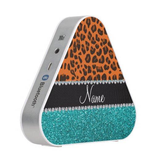 Personalized name orange leopard turquoise glitter bluetooth speaker
