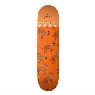 Personalized name orange malinois dogs skateboard deck