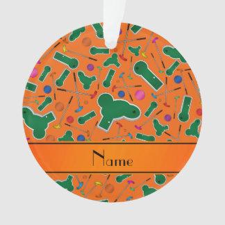 Personalized name orange mini golf ornament