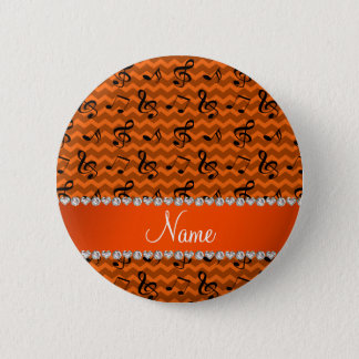 Personalized name orange music notes chevrons 2 inch round button