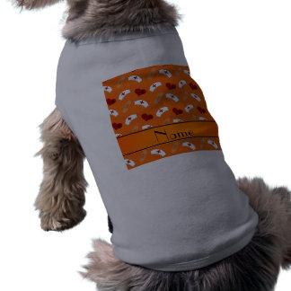 Personalized name orange nurse pattern dog t-shirt
