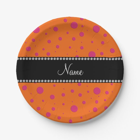 Personalized name orange pink polka dots paper plate