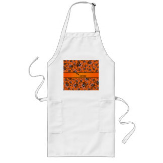 Personalized name orange pirate ships aprons