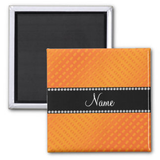 Personalized name orange polka dots square magnet