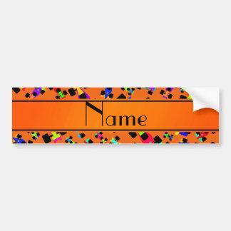 Personalized name orange race car pattern car bumper sticker