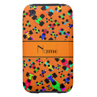 Personalized name orange race car pattern tough iPhone 3 cases