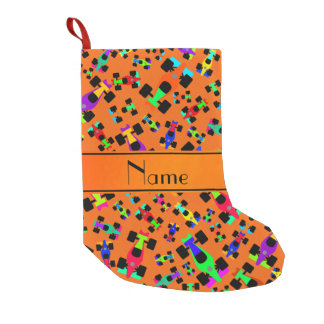 Personalized name orange race car pattern small christmas stocking