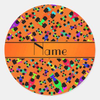 Personalized name orange race car pattern classic round sticker
