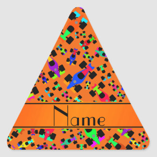 Personalized name orange race car pattern triangle sticker
