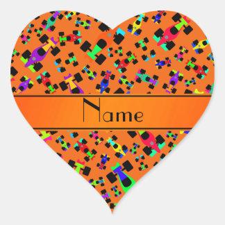 Personalized name orange race car pattern heart sticker