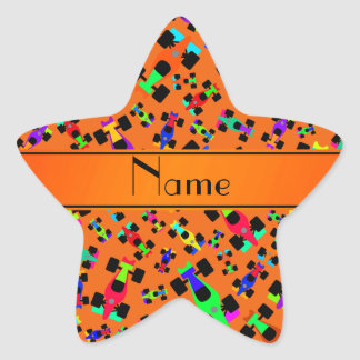 Personalized name orange race car pattern star stickers