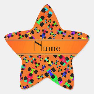 Personalized name orange race car pattern star sticker