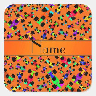 Personalized name orange race car pattern square sticker