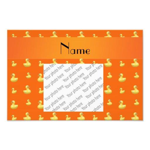 Personalized name orange rubber duck pattern art photo