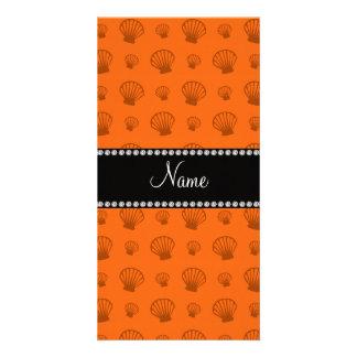 Personalized name orange shells customized photo card