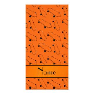 Personalized name orange skateboard pattern photo card
