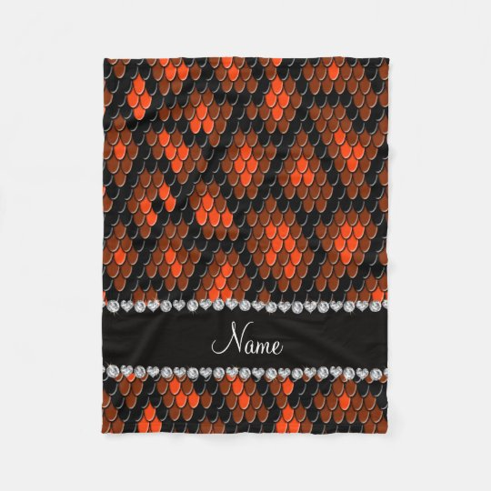 Personalized name orange snake skin pattern fleece blanket