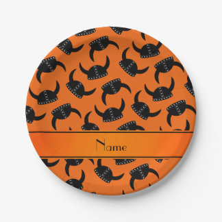 Personalized name orange viking hat pattern paper plate