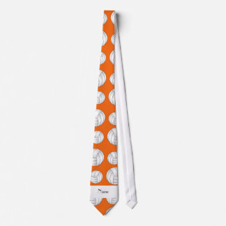 Personalized name orange volleyball balls tie
