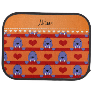 Personalized name orange walrus red hearts stripes car carpet