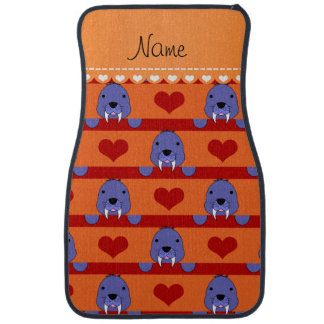 Personalized name orange walrus red hearts stripes car floor carpet