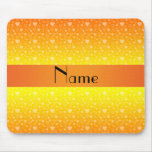 Personalized name orange yellow hearts mouse pad