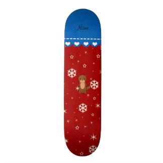 Personalized name otter red snowflakes skateboard decks