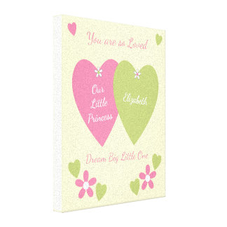 Personalized name Our Princess Nursery pink green Canvas Print