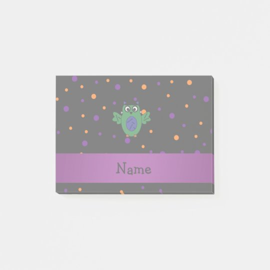 Personalized name owl frankenstein polka dots post-it notes