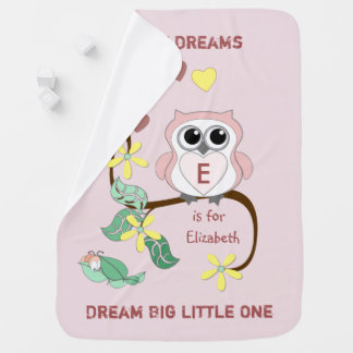 Personalized name Owl pink baby Baby Blanket