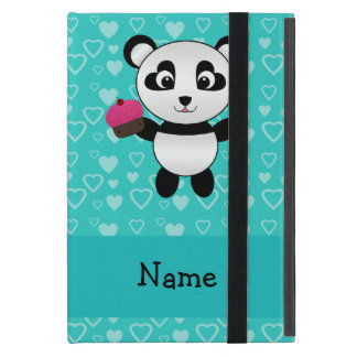 Personalized name panda cupcake turquoise hearts iPad mini case