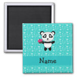 Personalized name panda cupcake turquoise hearts square magnet