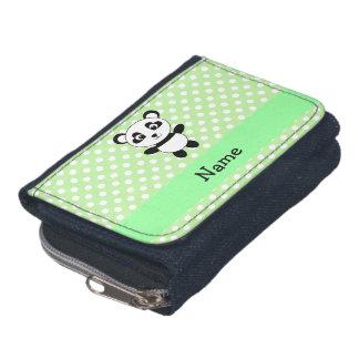 Personalized name panda green polka dots wallet
