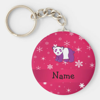 Personalized name panda pink snowflakes keychain