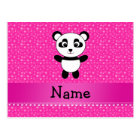Personalized name panda pink stars postcard