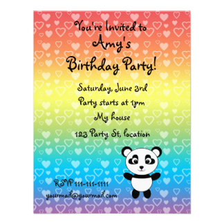 Personalized name panda rainbow hearts personalized invites