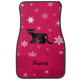 Personalized name panther pink snowflakes auto mat