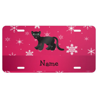 Personalized name panther pink snowflakes license plate