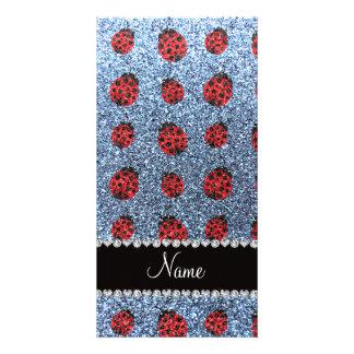 Personalized name pastel blue glitter ladybug photo card