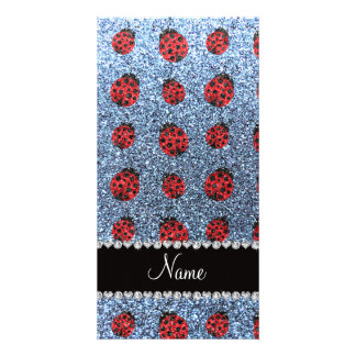 Personalized name pastel blue glitter ladybug photo cards