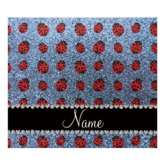Personalized name pastel blue glitter ladybug posters