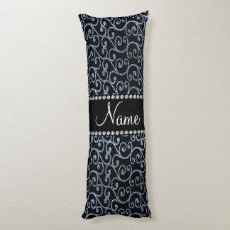 Personalized name pastel blue glitter swirls body pillow