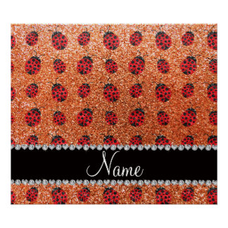 Personalized name pastel orange glitter ladybug print