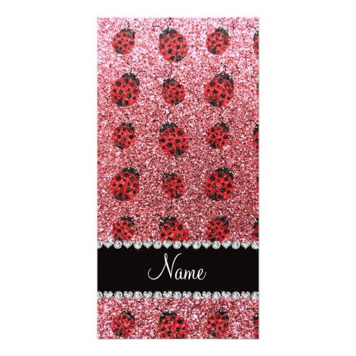 Personalized name pastel pink glitter ladybug photo card