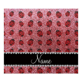 Personalized name pastel pink glitter ladybug poster