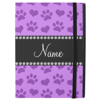 Personalized name pastel purple hearts and paws