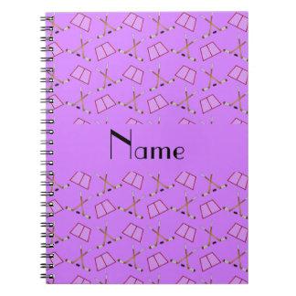 Personalized name pastel purple hockey pattern note books