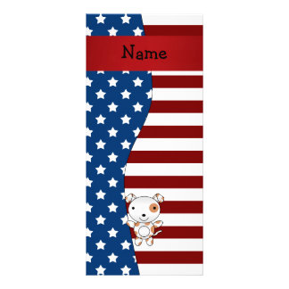 Personalized name Patriotic dog Rack Cards