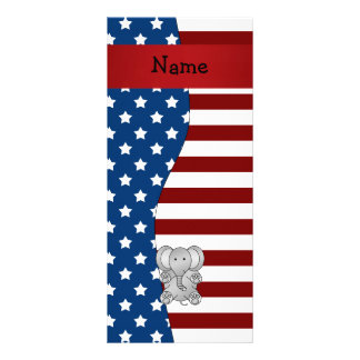 Personalized name Patriotic elephant Personalized Rack Card