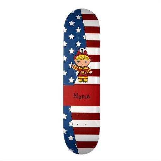 Personalized name Patriotic fireman Skate Board Deck